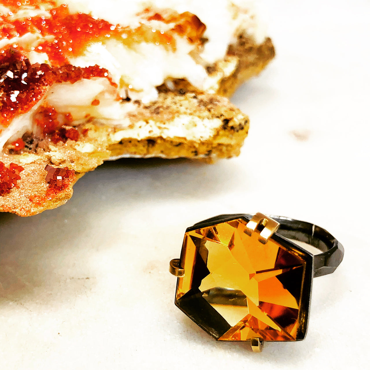 Sterling Silver /18K Yellow Gold Citrine Ring.