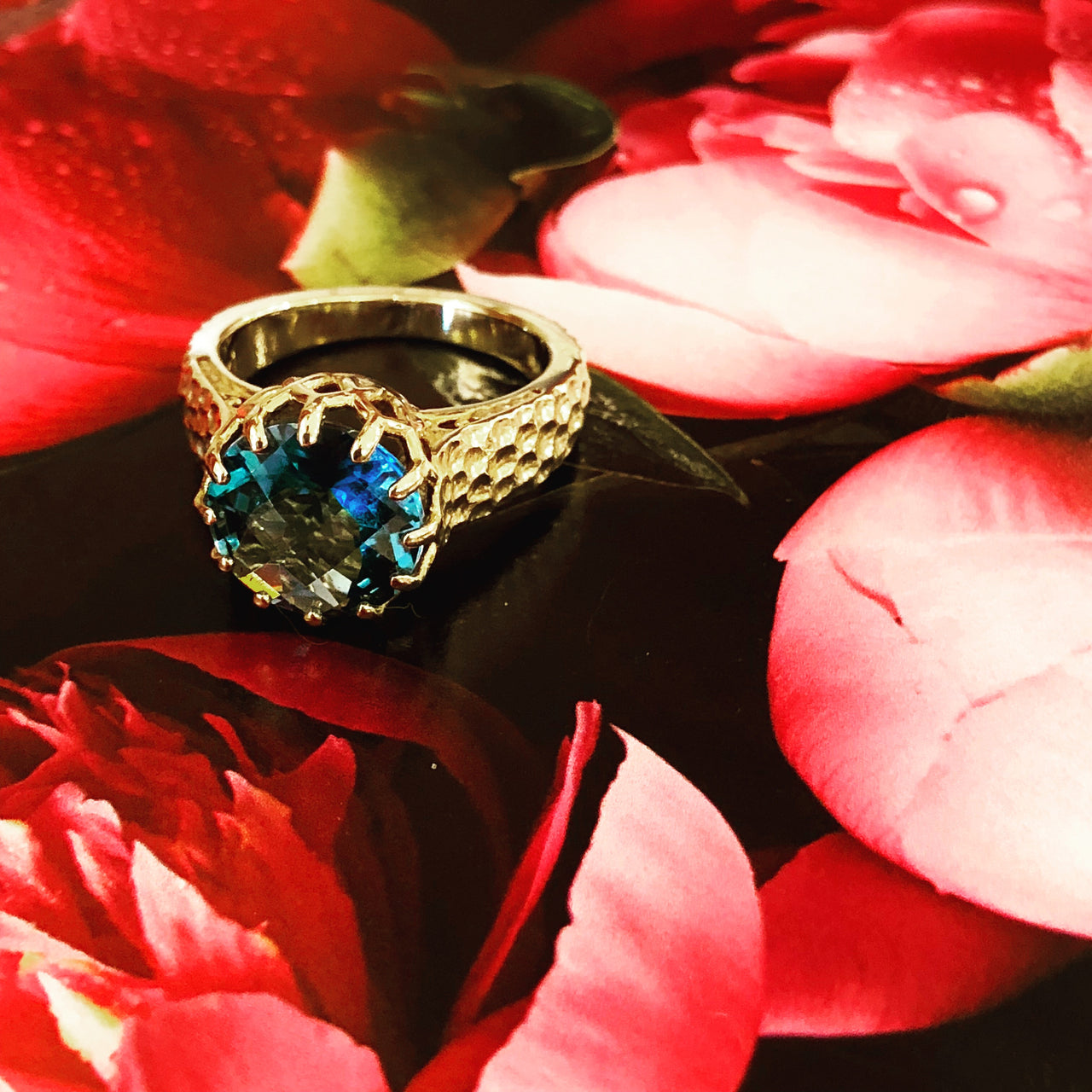 14K Yellow Gold Blue Topaz Ring.