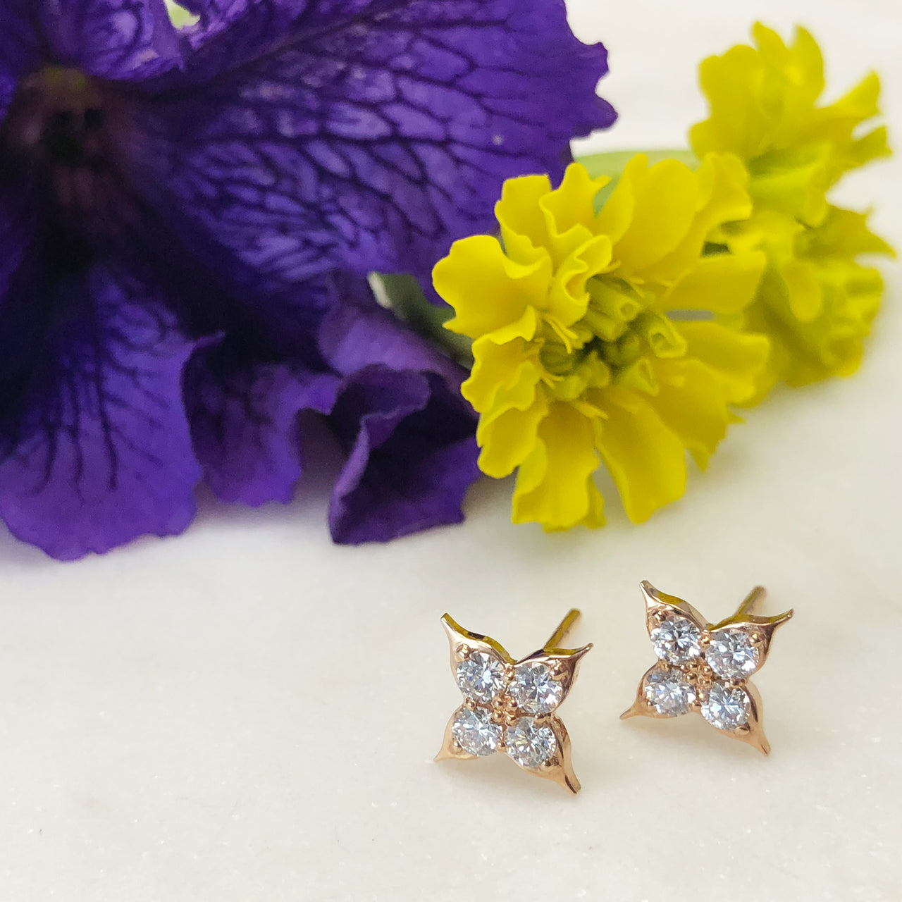 14K Yellow Gold Compass Diamond Earrings.