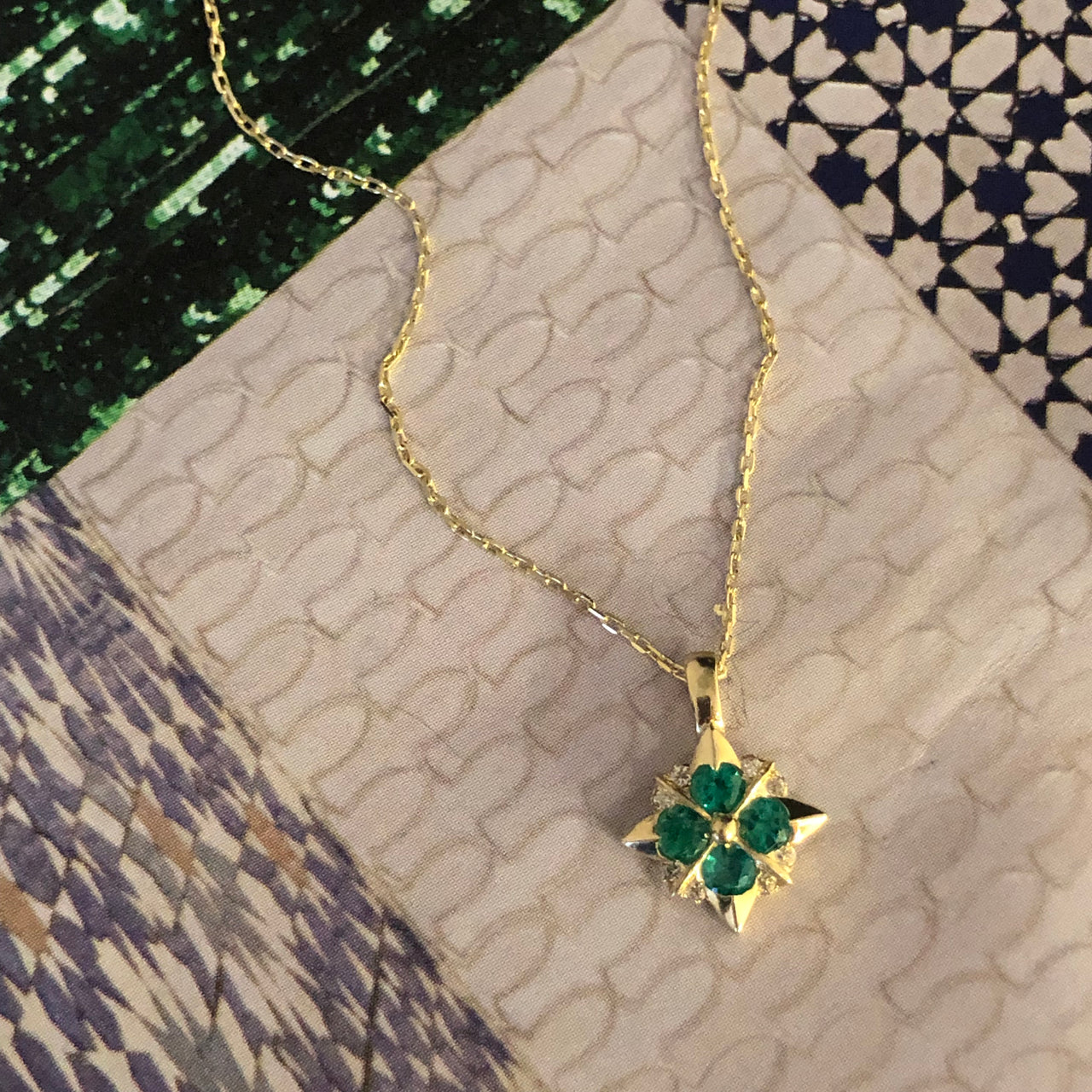 14K Yellow Gold Large Plique Emerald and Diamond Pendant.