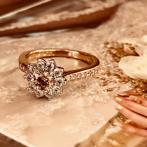 14K Rose Gold and Platinum Diamond Ring.