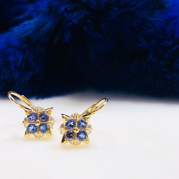 14K Yellow Gold Iolite and Diamond Earrings.