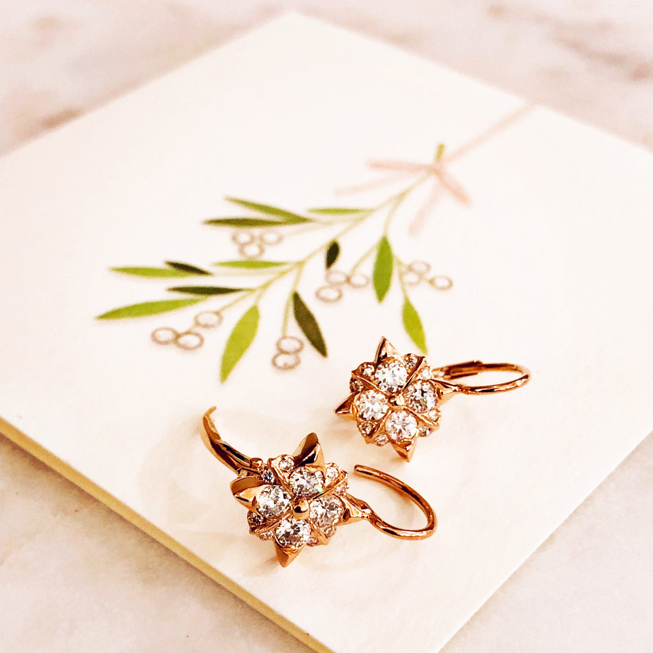 14K Rose Gold Diamond Earrings.