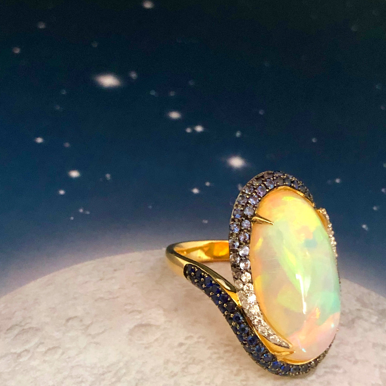 18K Yellow Gold Opal, Sapphire & Diamond Ring.