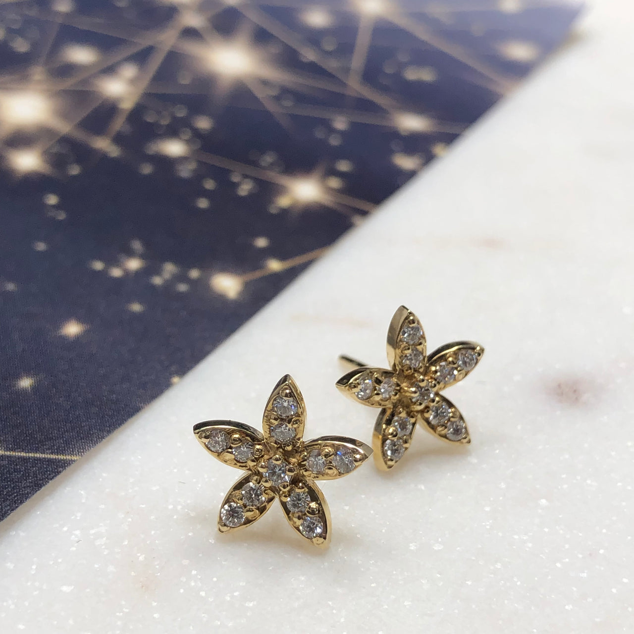 14K Yellow Gold Star Diamond Earrings.