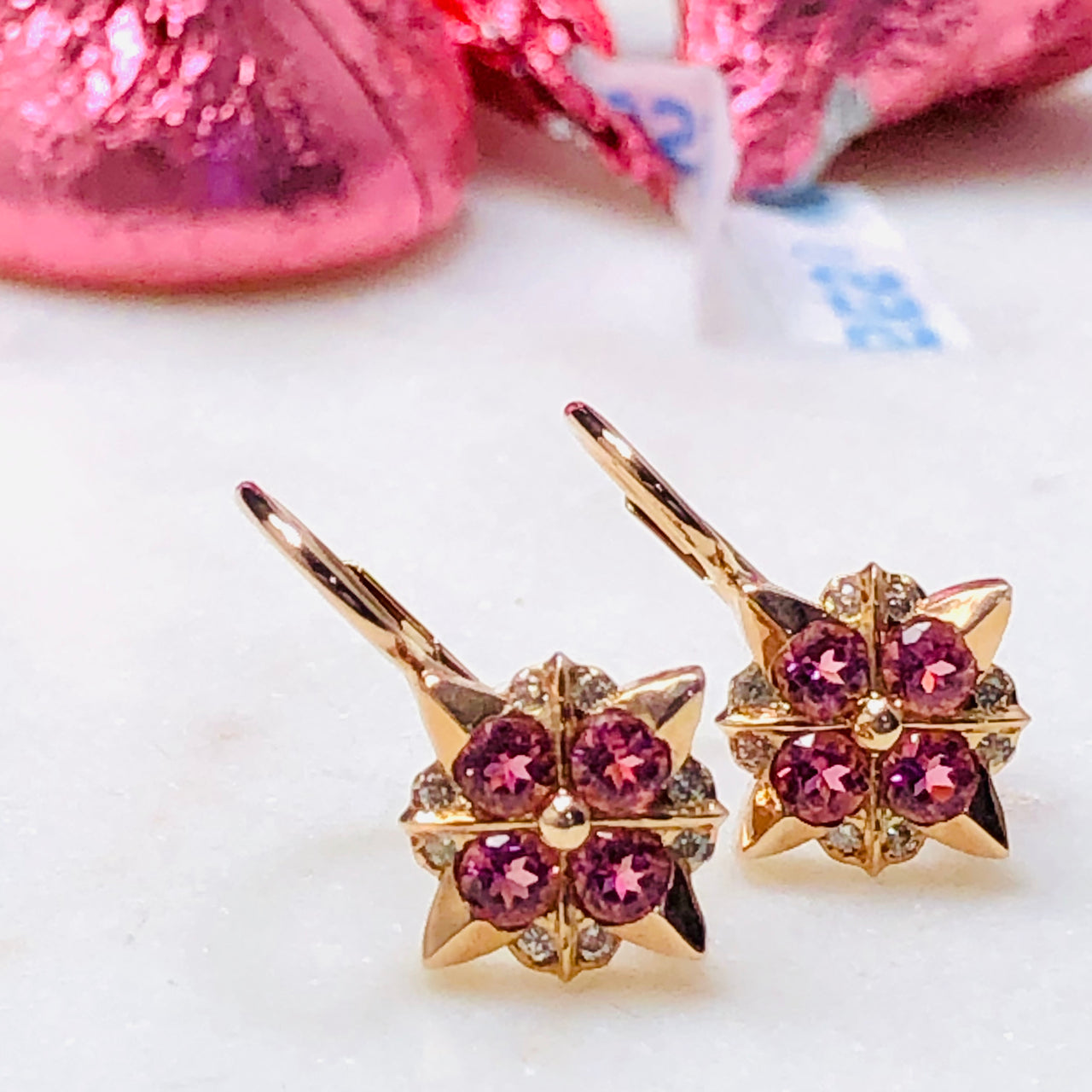 14K Rose Gold Pink Tourmaline and Diamond Earrings.