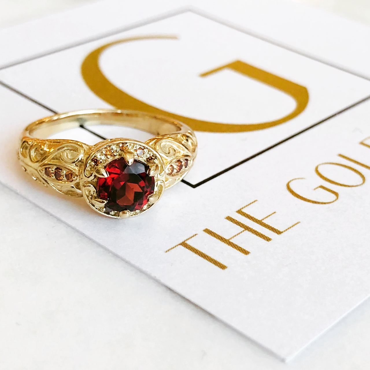 14K Yellow Gold Garnet Ring.