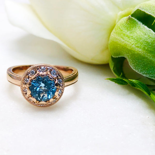 14K Rose Gold Aquamarine and Diamond Ring.