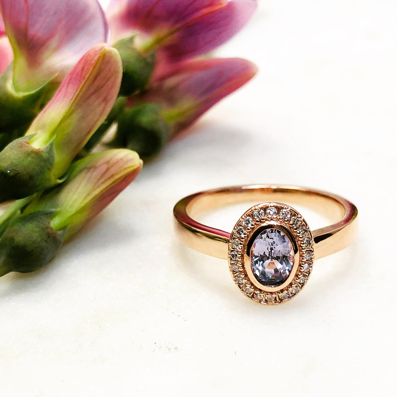 14k Rose Gold Sapphire and Diamond Ring.