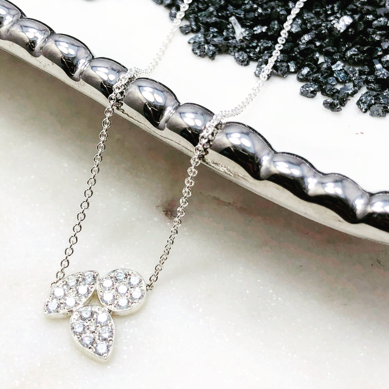 Sterling Silver Diamond Necklace.