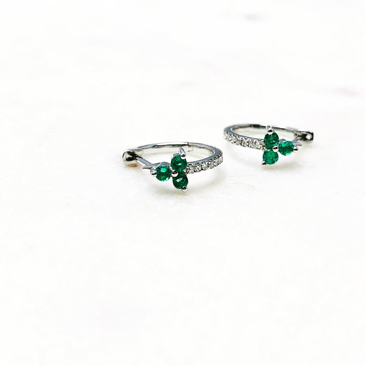 14k White Gold Emerald and Diamond Earrings.