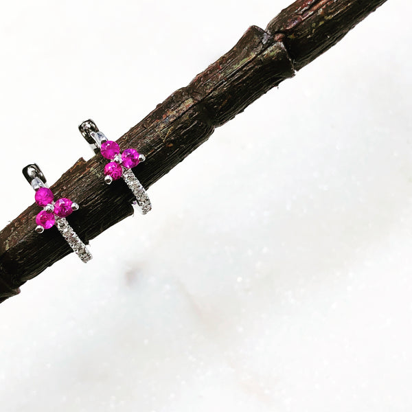 14k White Gold Ruby and Diamond Earrings.