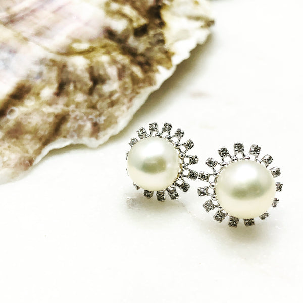 14k White Gold Pearl and Diamond Earrings.