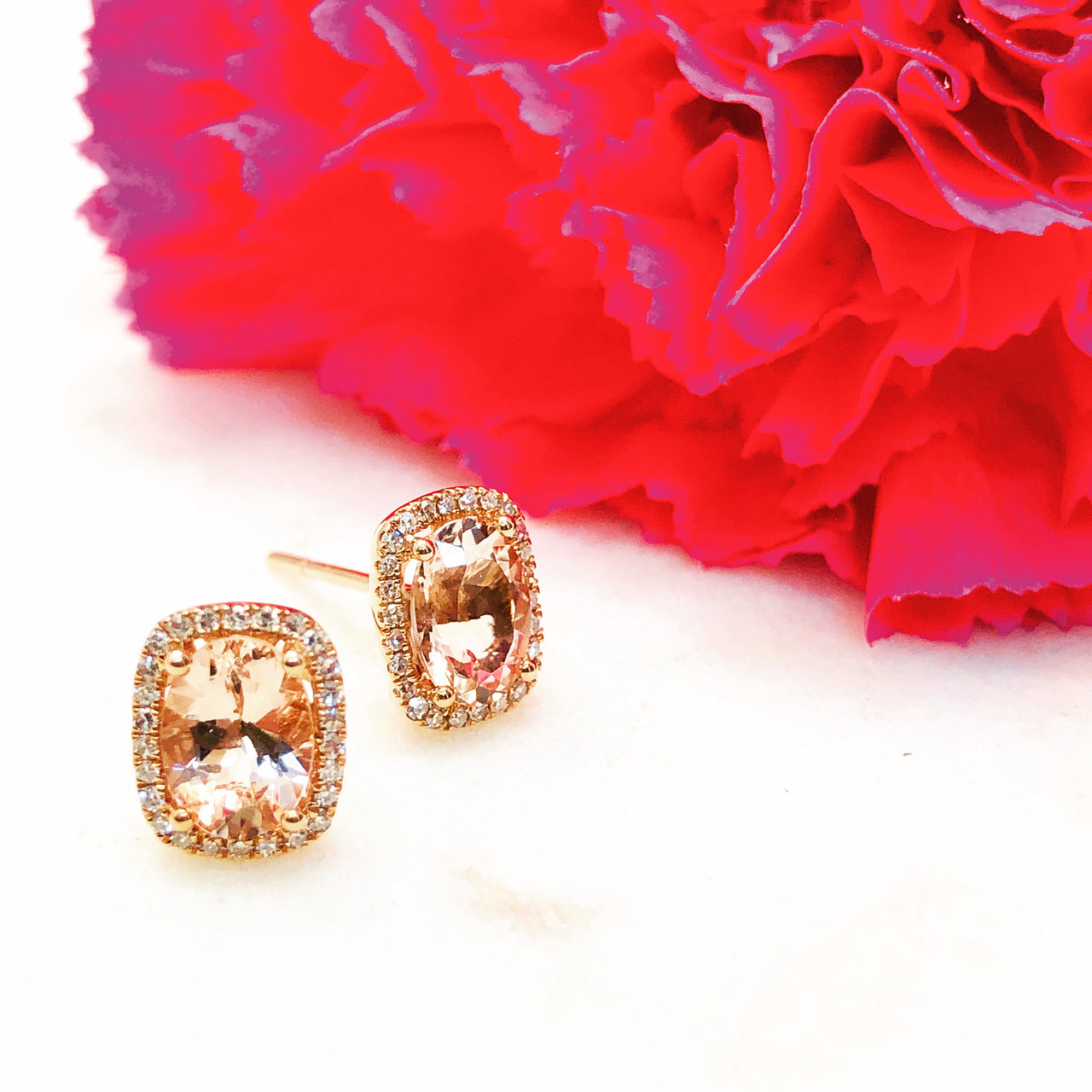 14K Rose Gold Morganite and Diamond Earrings.