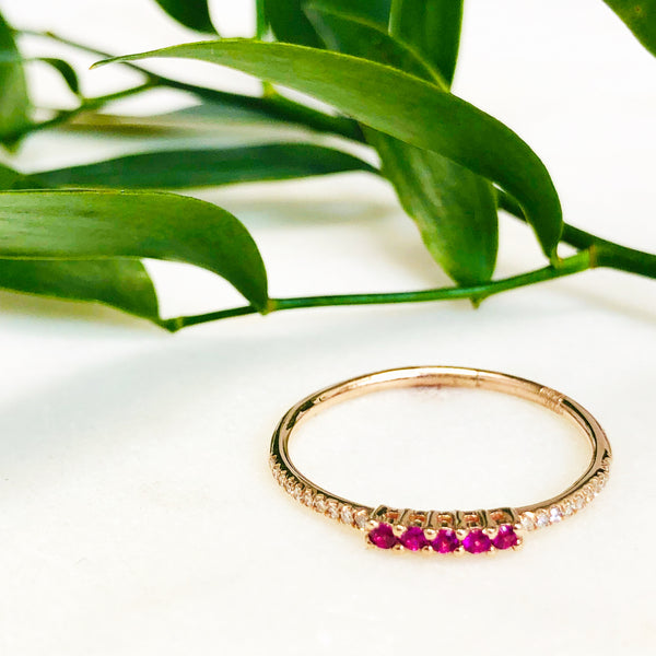 14K Rose Gold Ruby & Diamond Ring.