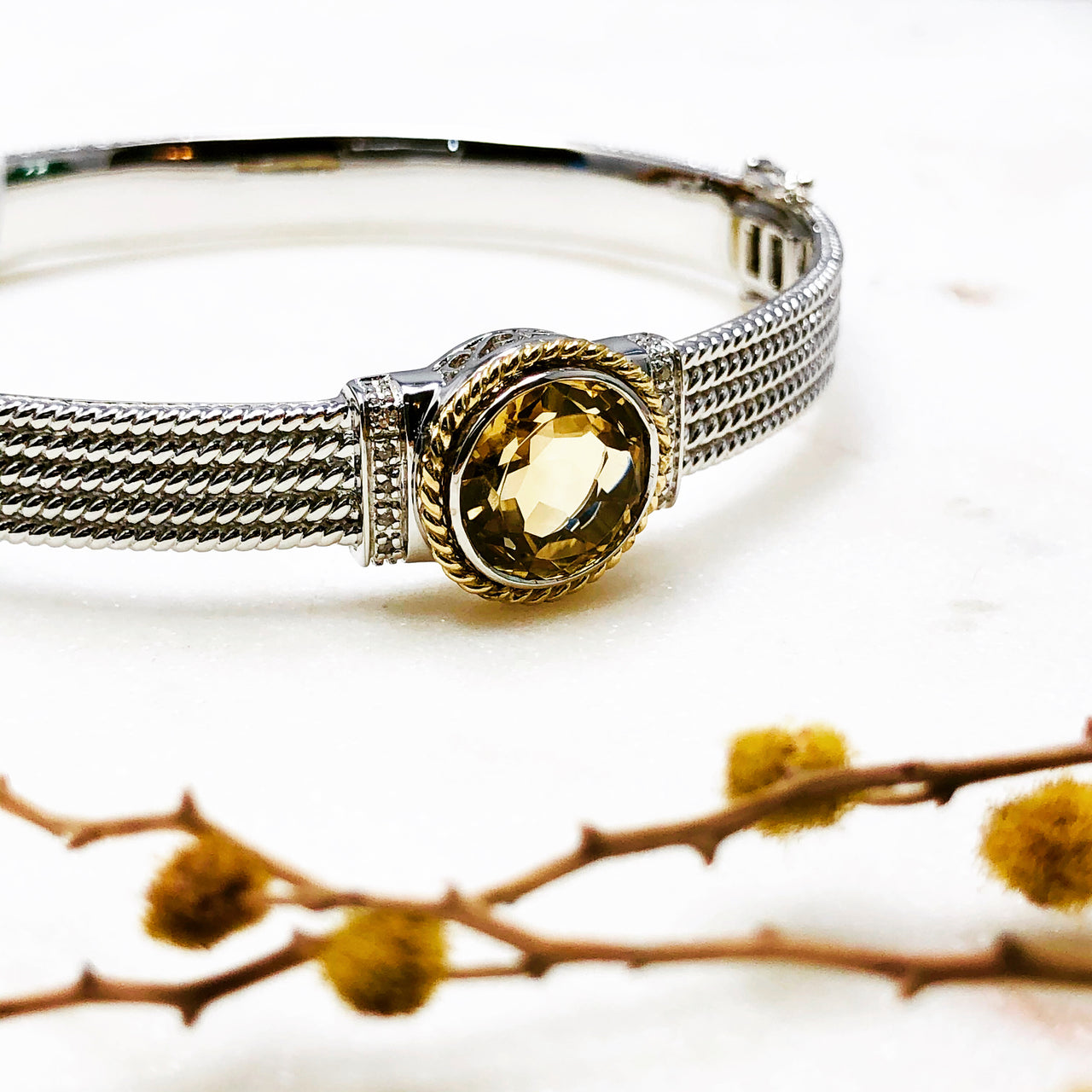 Sterling Silver/14k Yellow Gold Citrine and Diamond Bracelet.
