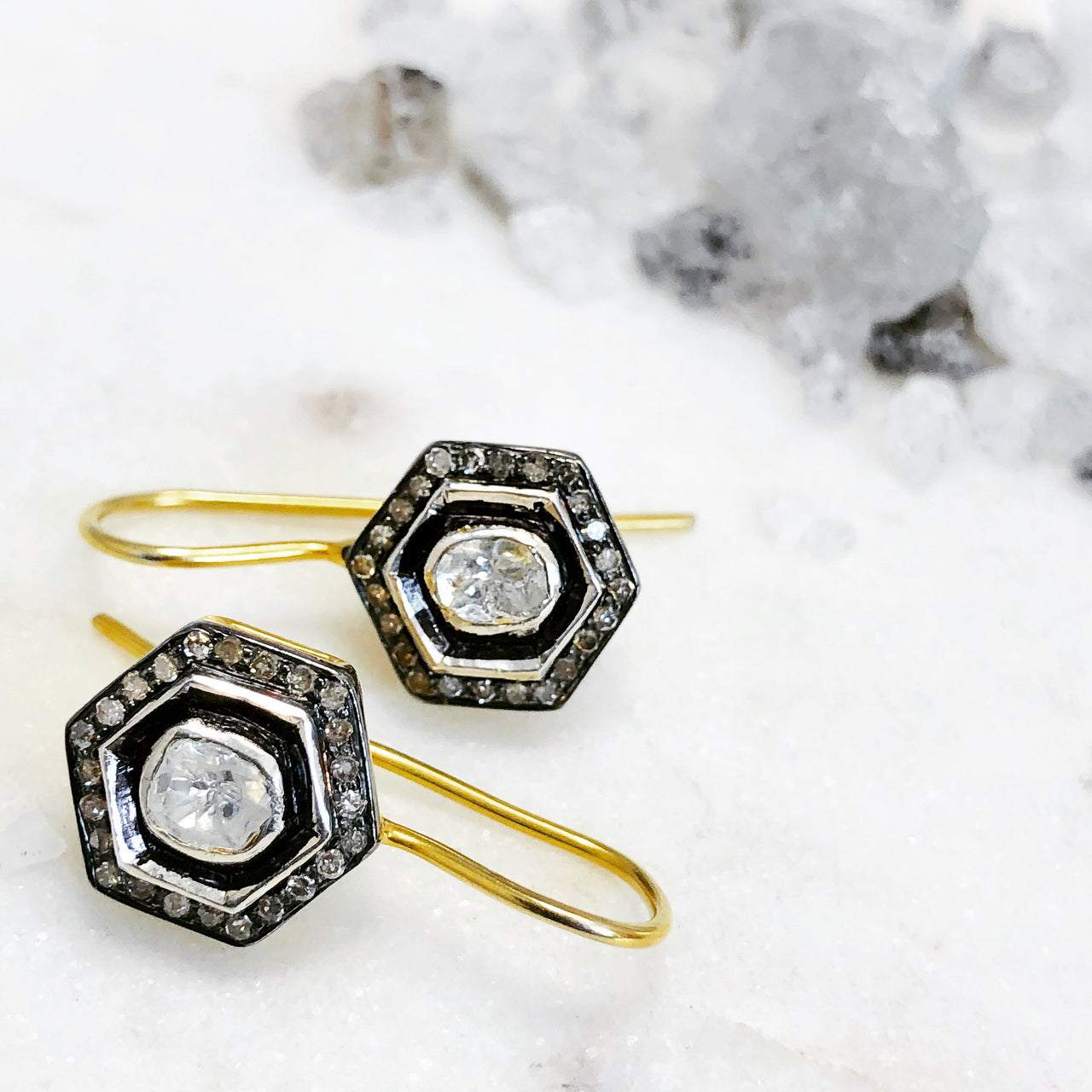 Sterling Silver / Gold Plated Diamond Earrings.