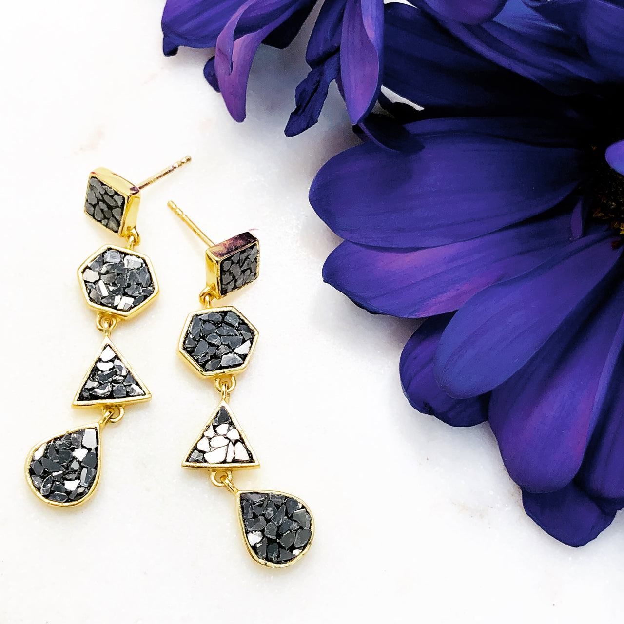 Sterling Silver/Yellow Gold Plated Diamond Earrings.