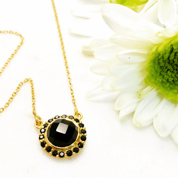 Sterling Silver/Yellow Gold Plated Black Onyx Necklace.