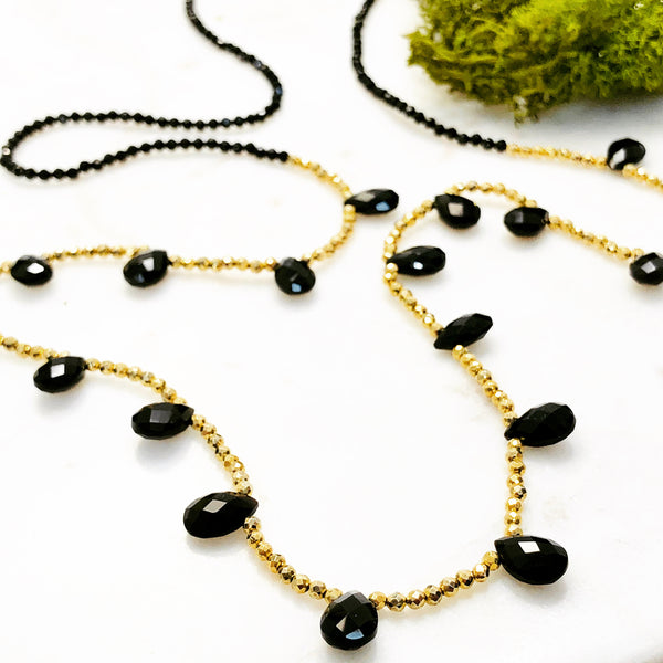 Sterling Silver/Yellow Gold Plate Black Onyx Necklace.