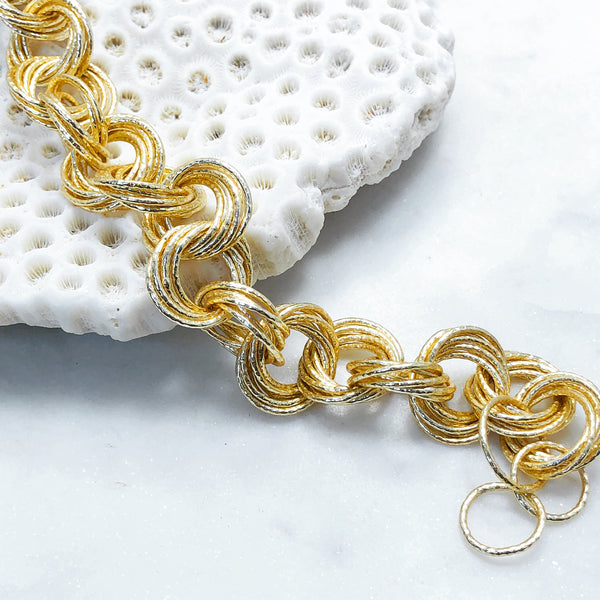 Sterling Silver and Yellow Gold Plate Bracelet.