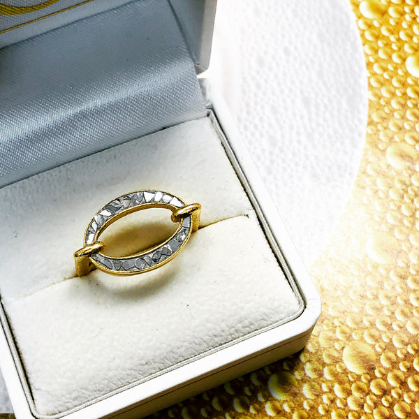 Sterling Silver/Yellow Gold Plate Diamond Ring.