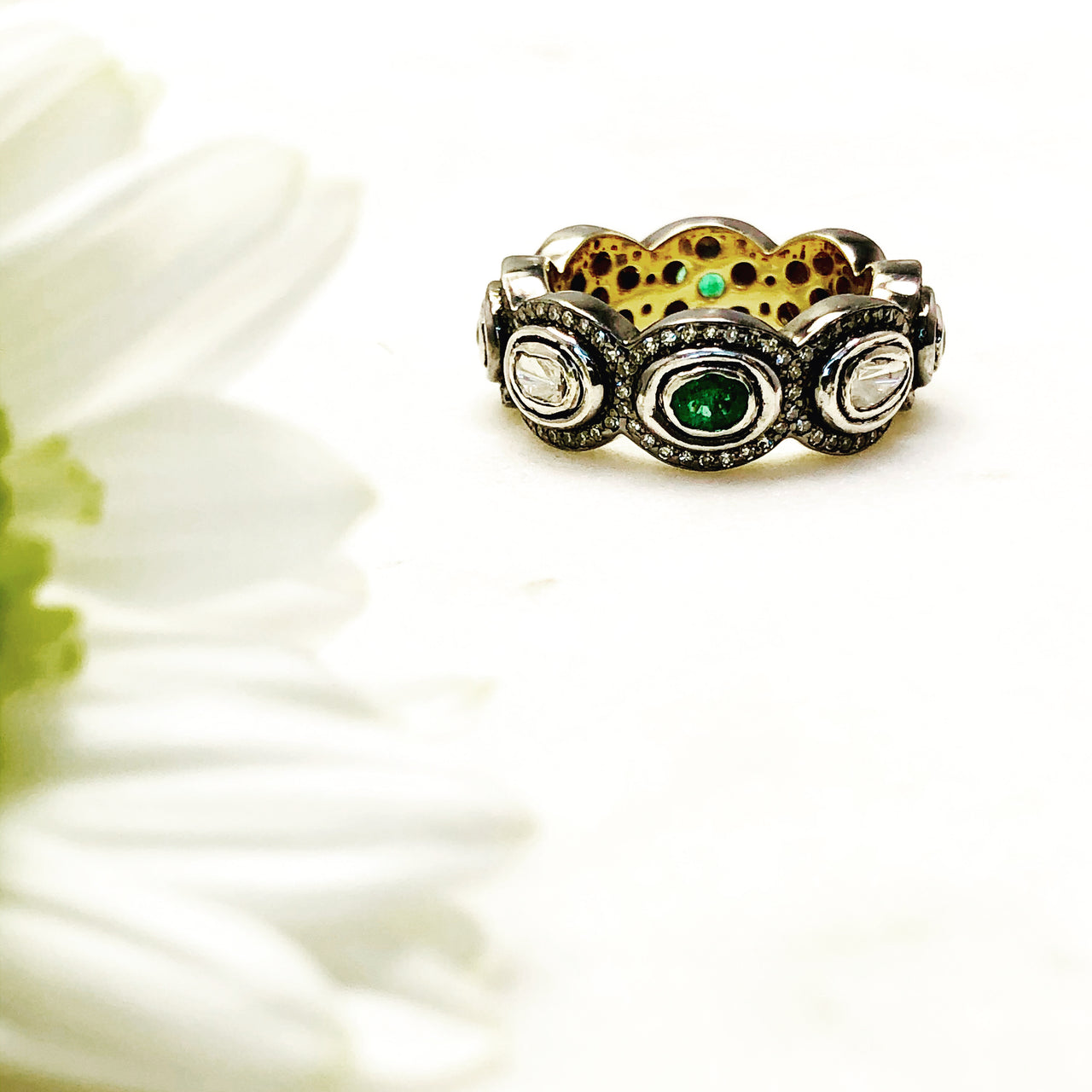 Sterling Silver/Yellow Gold Plated Emerald and Diamond Ring.
