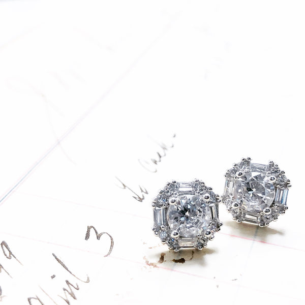 Sterling Silver Cubic Zirconia Earrings.