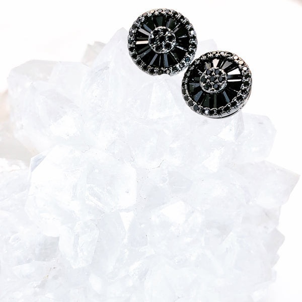 Sterling Silver Black Cubic Zirconia Earrings.