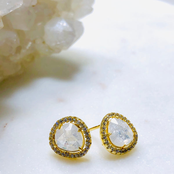 Sterling Silver/ Yellow Gold Plate Crystal & Cubic Zirconia Earrings.