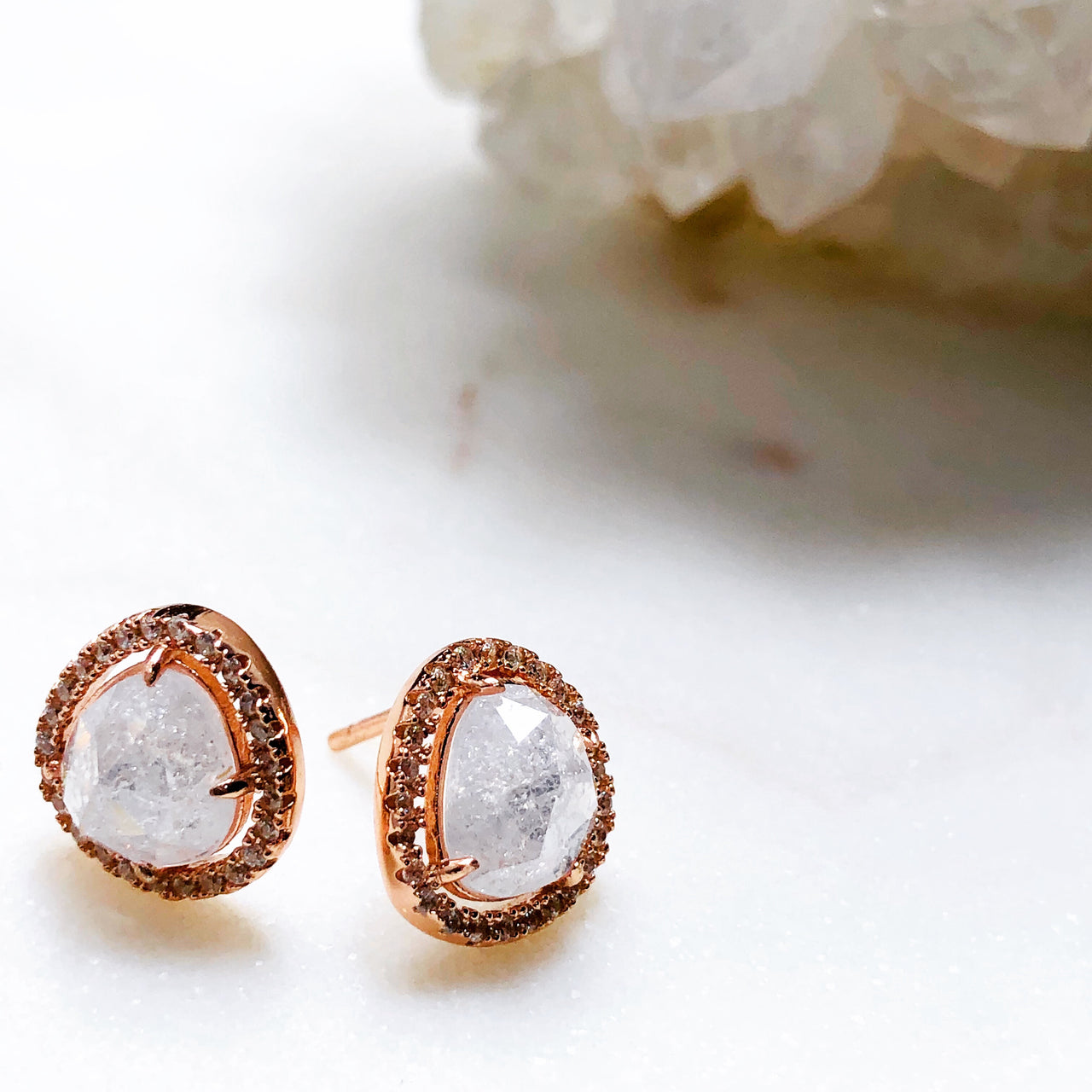 Sterling Silver/ Rose Gold Plate, Crystal & Cubic Zirconia Earrings.