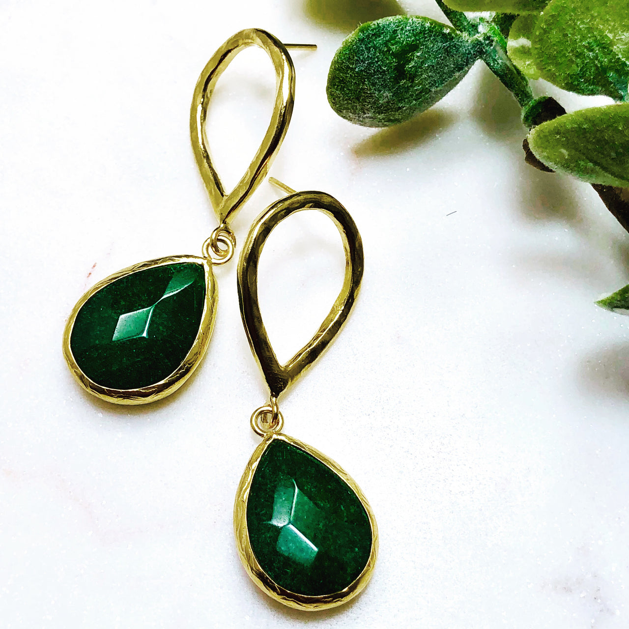 Sterling Silver/ Yellow Gold Plate Green Quartz Earrings.