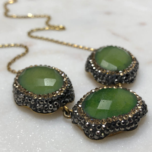 Sterling Silver/Yellow Gold Plate Green Quartz & Cubic Zirconia Necklace.