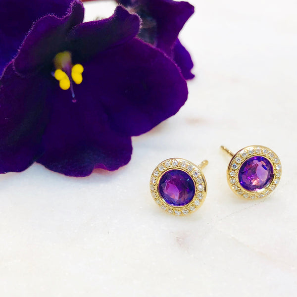 14K Yellow Gold Amethyst and Diamond Earrings.