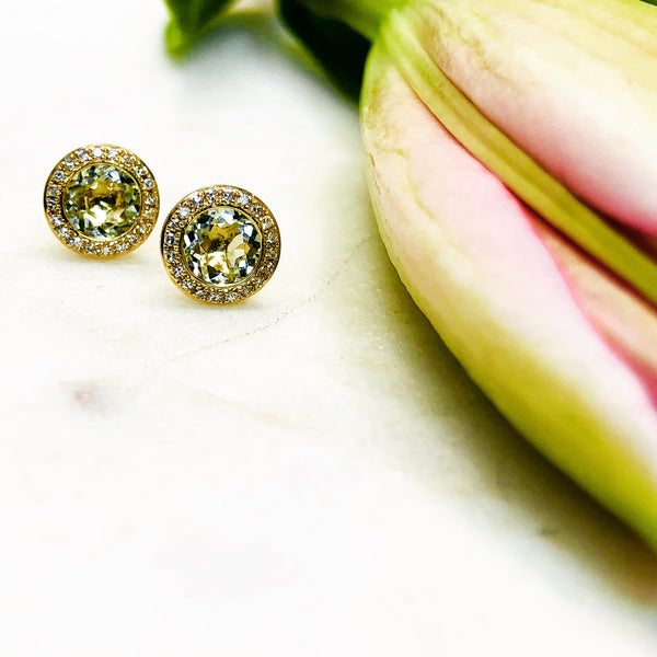 14K Yellow Gold Green Amethyst and Diamonds Earrings.