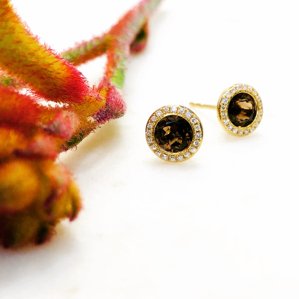 14K Yellow Gold Smokey Topaz and Diamond Earrings.