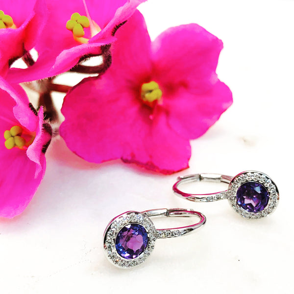 14K White Gold Amethyst and Diamond Earrings.