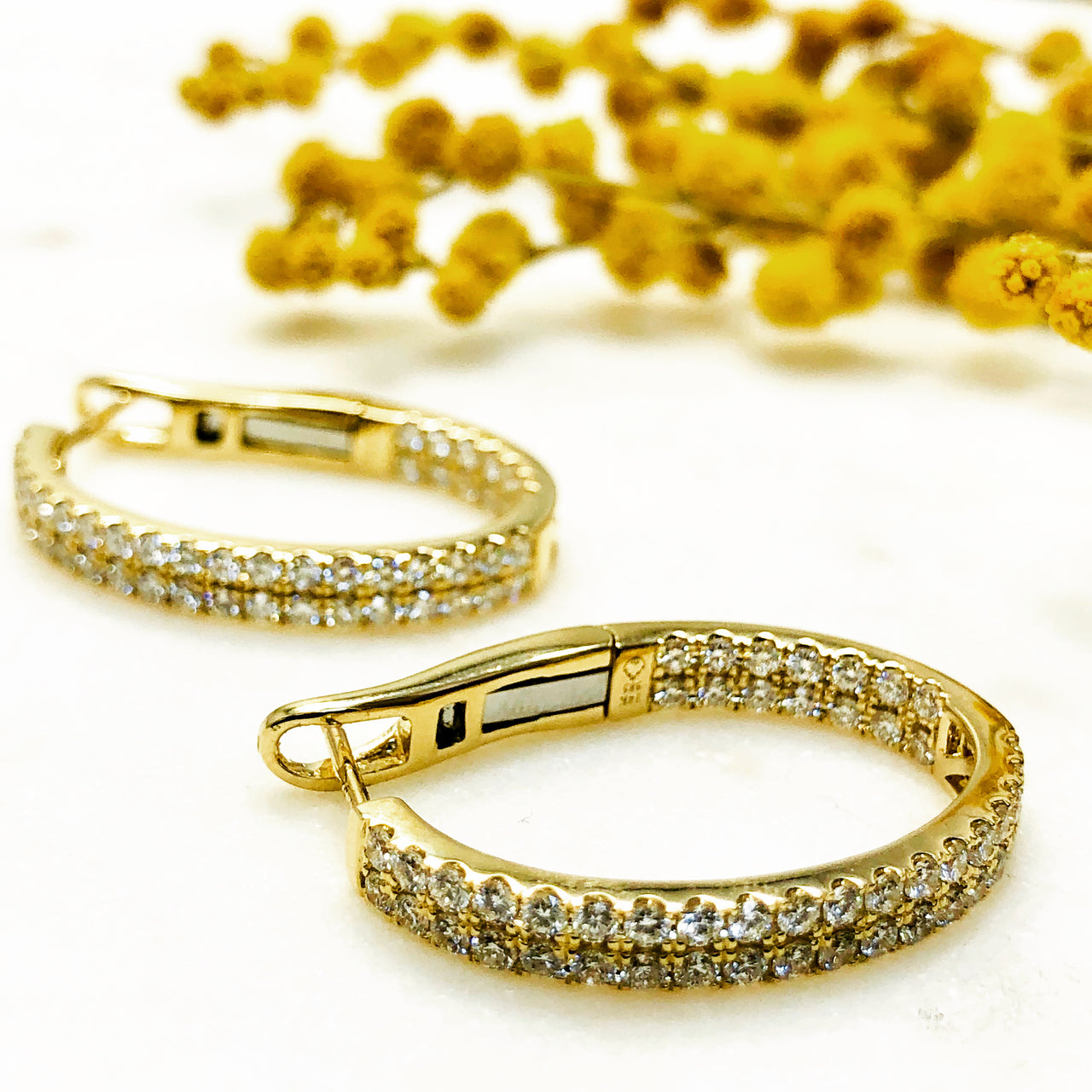 14K Yellow Gold Diamond Earrings.