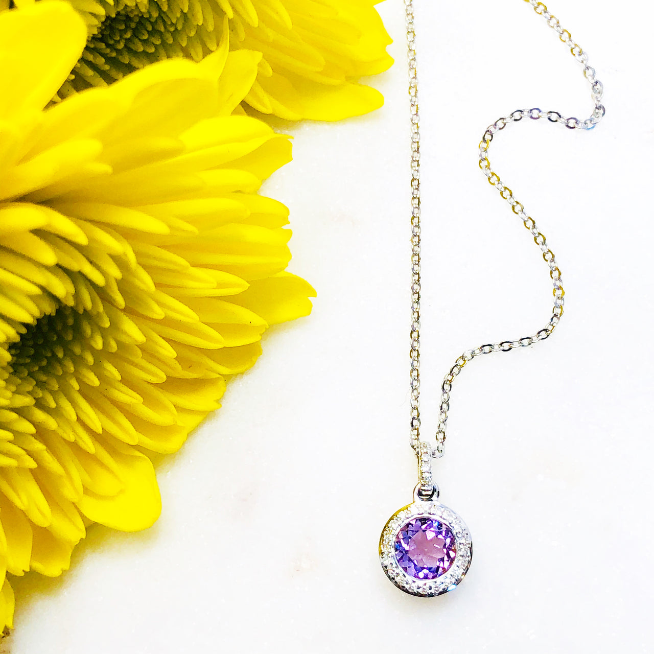 14K White Gold Amethyst and Diamond Necklace.