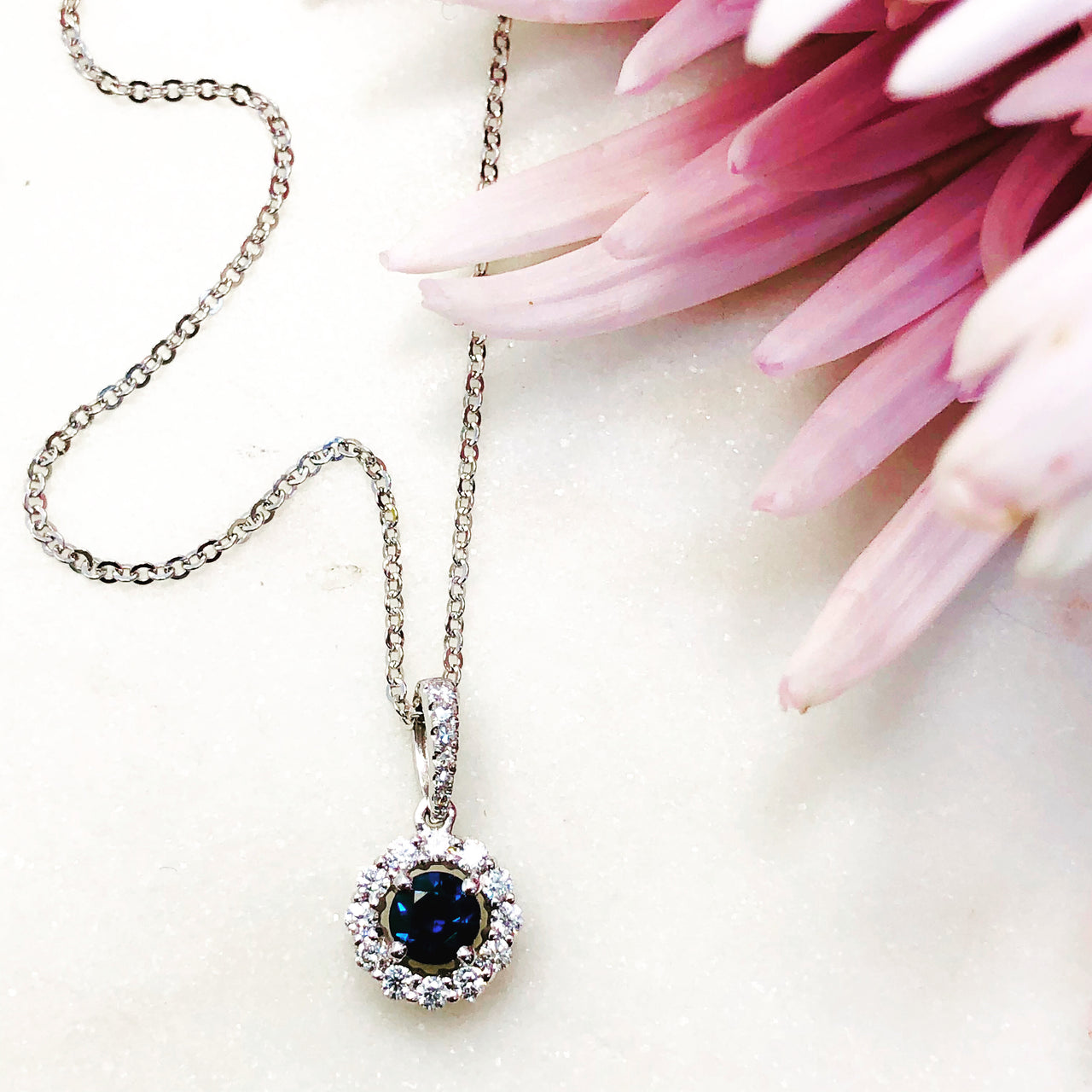 14K White Gold Sapphire and Diamond Necklace.