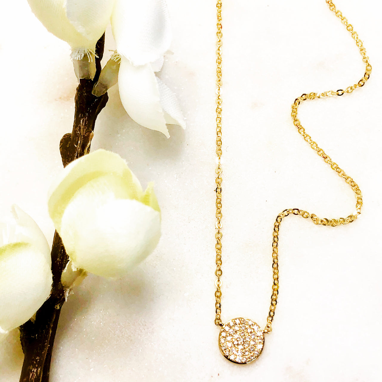 14K Yellow Gold Diamond Necklace.
