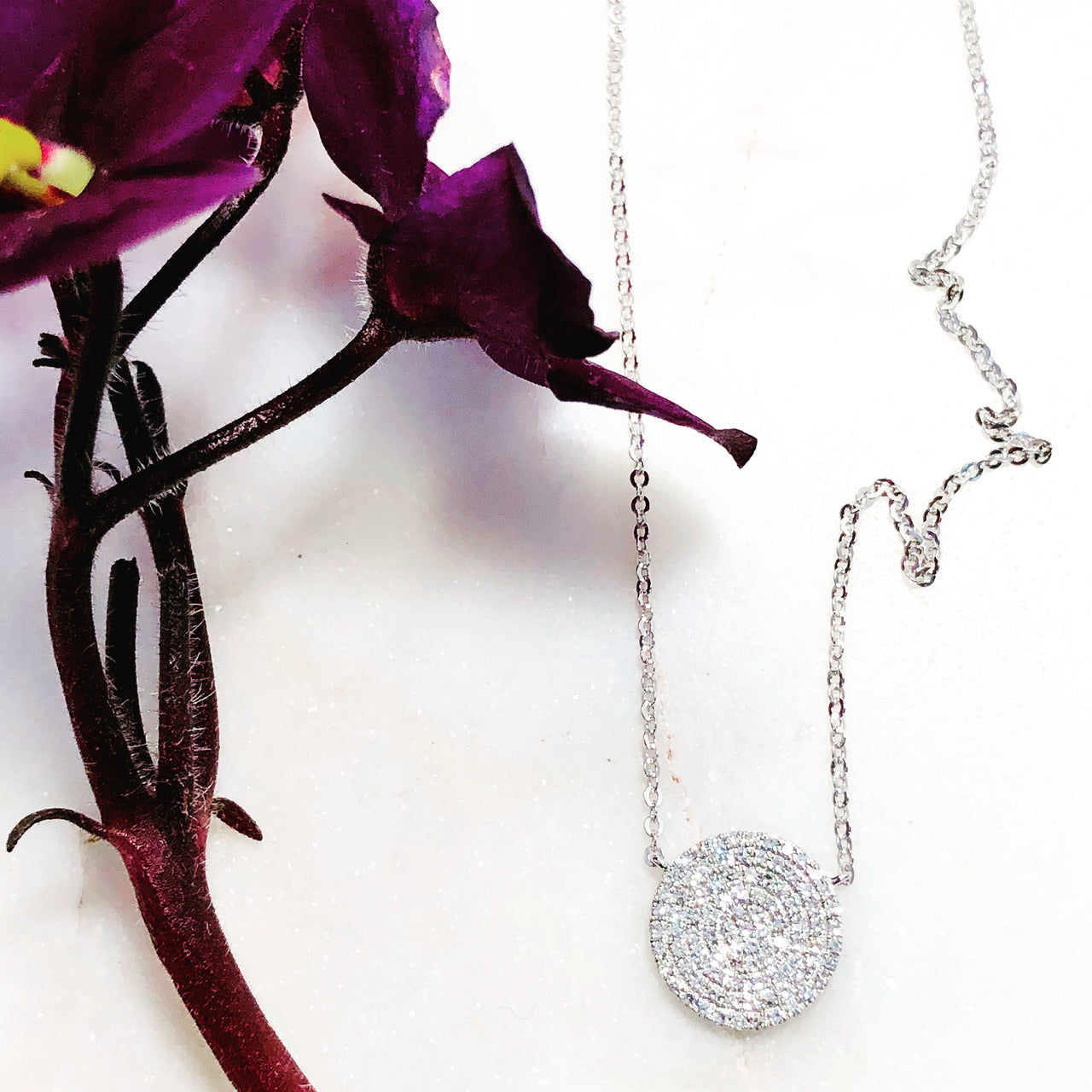 14K White Gold Diamond Necklace.