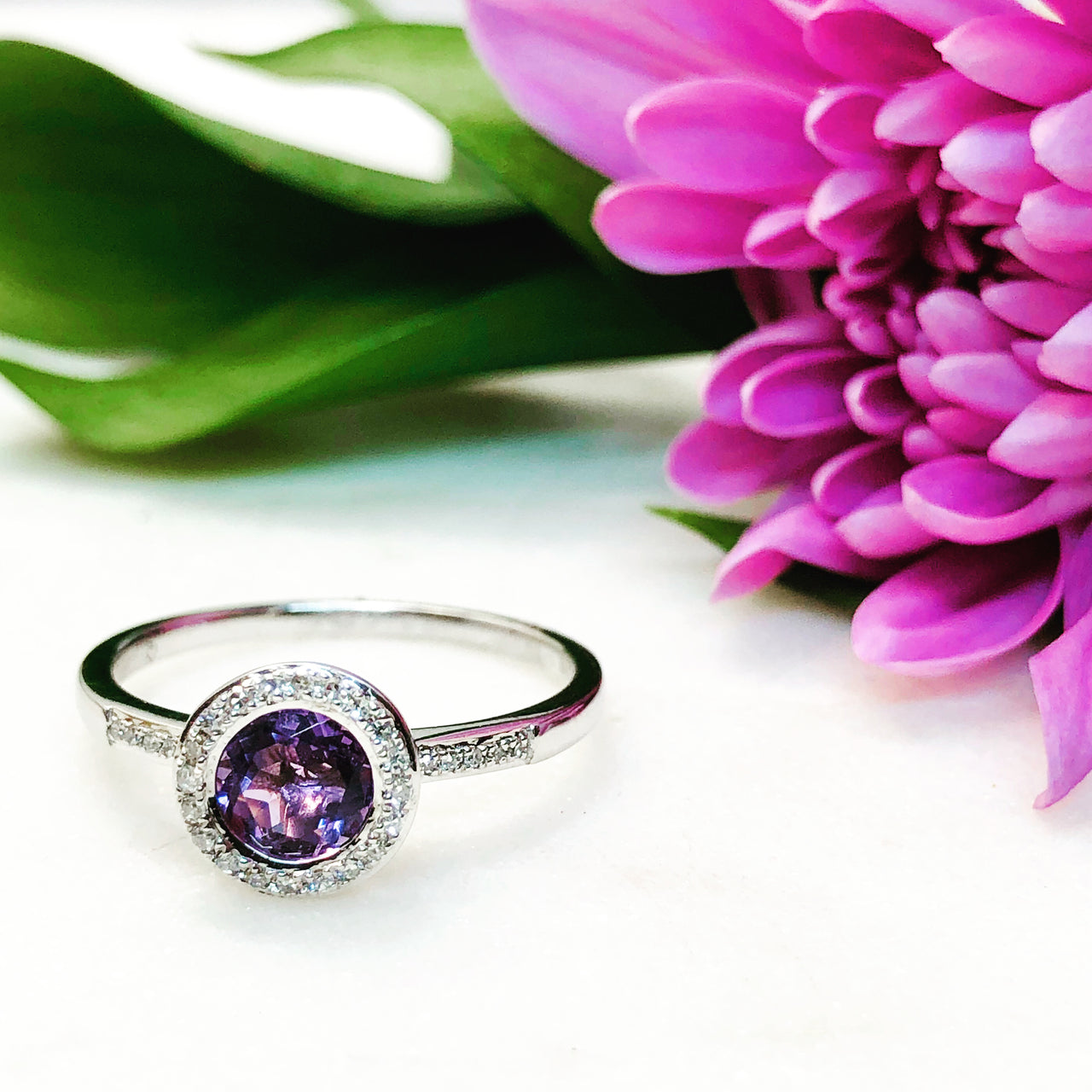 14K White Gold Amethyst and Diamond Ring.