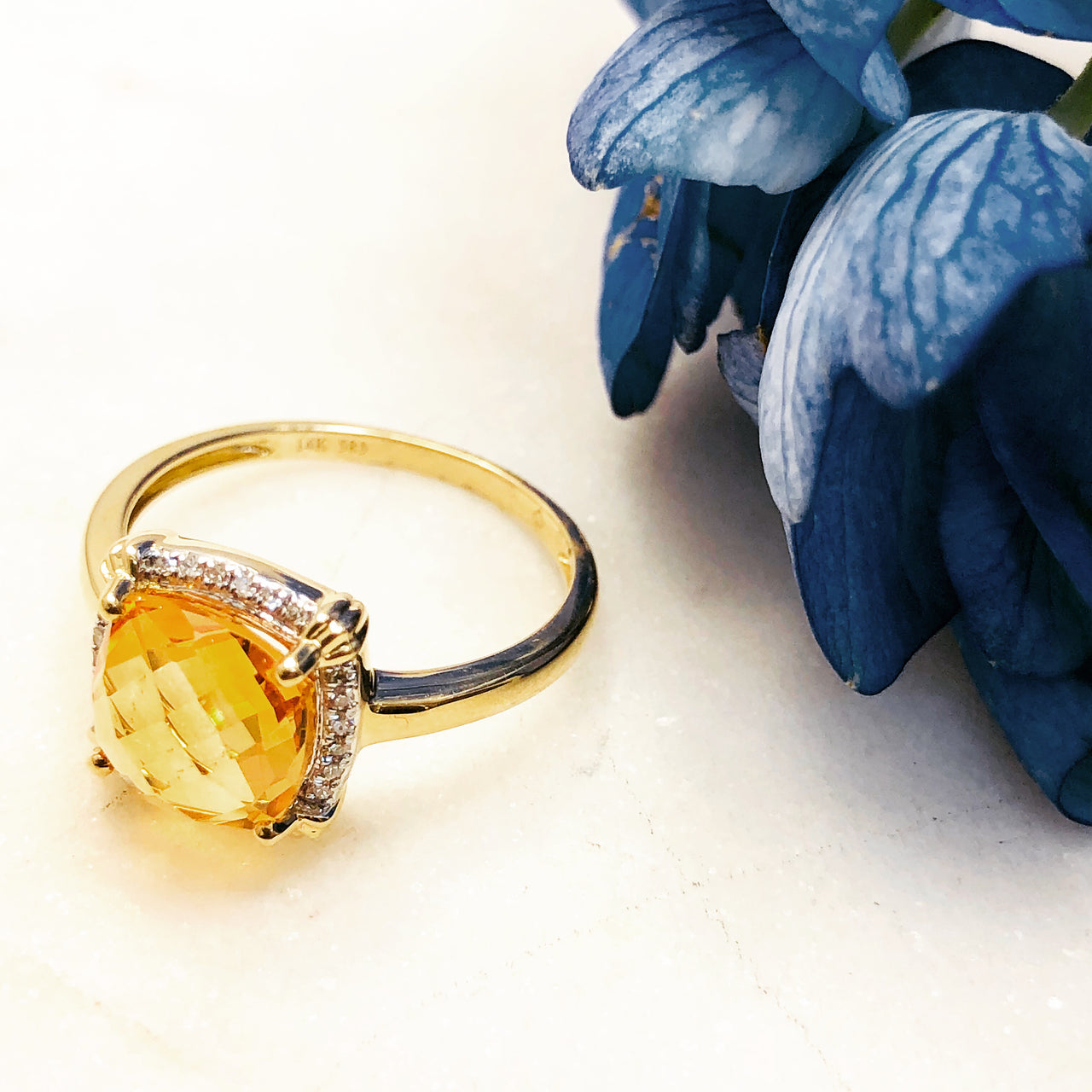 14K Yellow Gold Citrine & Diamond Ring.