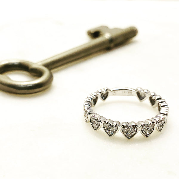 14K White Gold Diamond Ring.