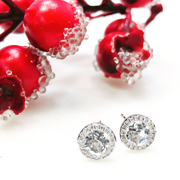 14K White Gold White Topaz and Diamond Earrings.