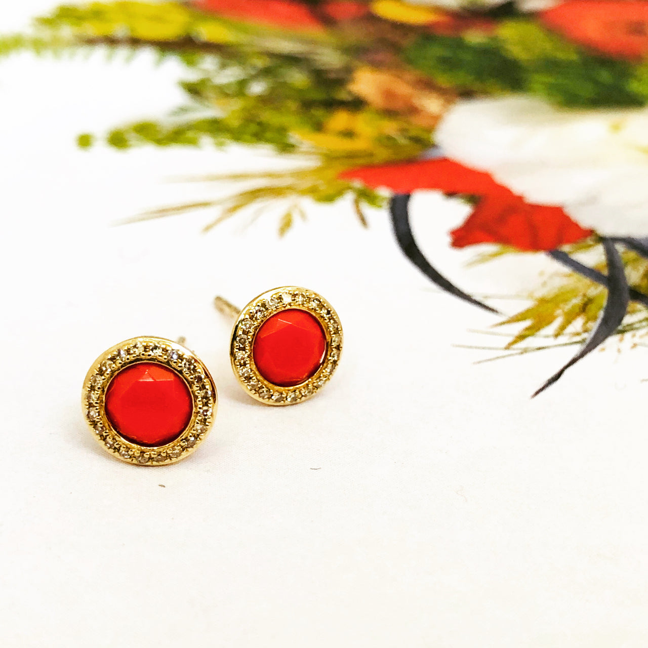 14k Yellow Gold Coral and Diamond Earrings.