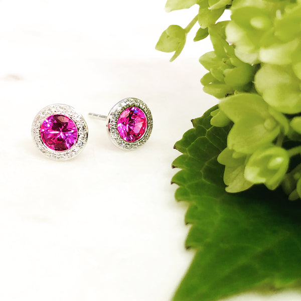 14k White Gold Corundum and Diamond Earrings.