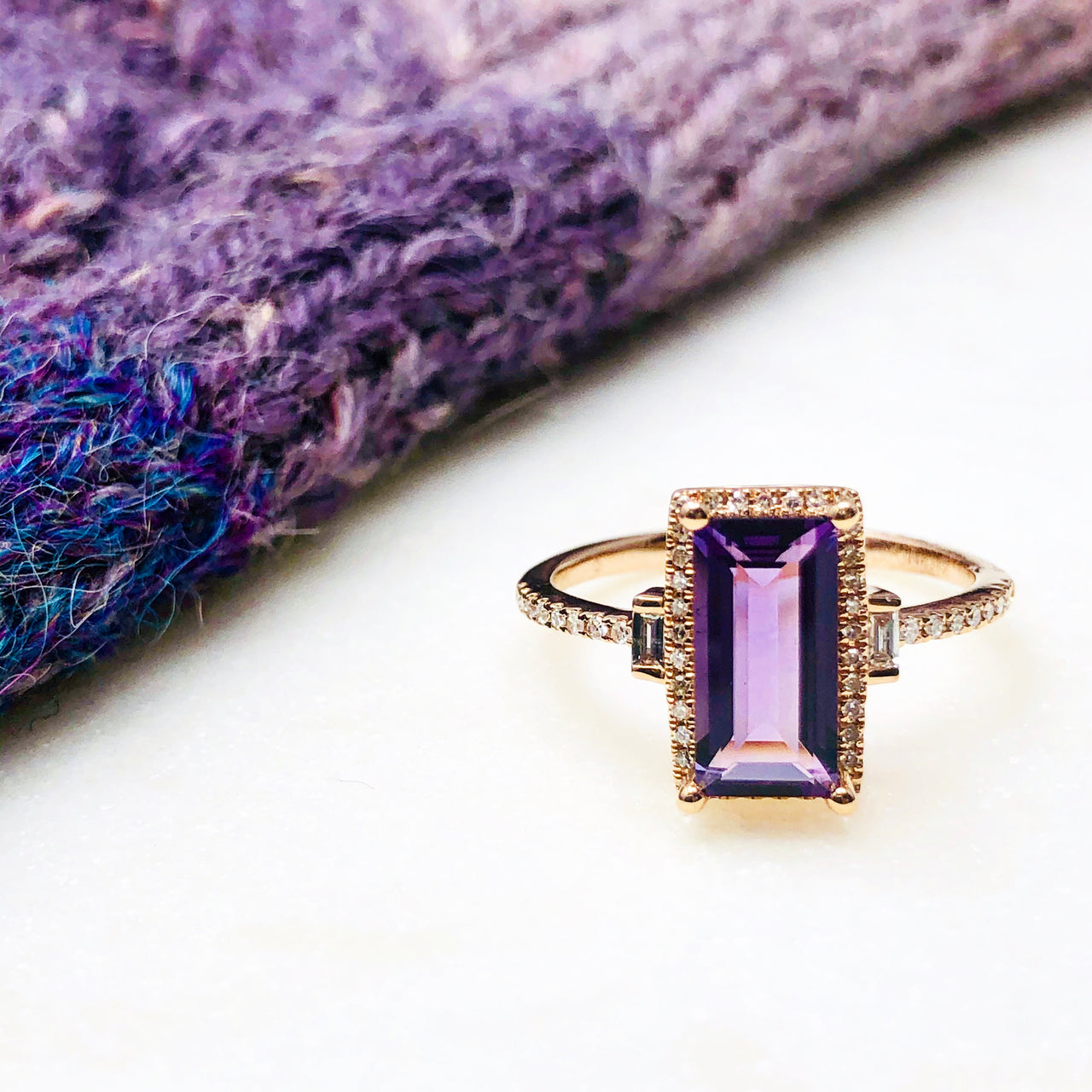 14k Rose Gold Amethyst and Diamond Ring.