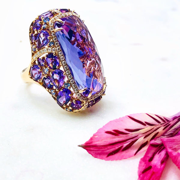 14k Rose Gold Amethyst, Sapphire and Diamond Ring.
